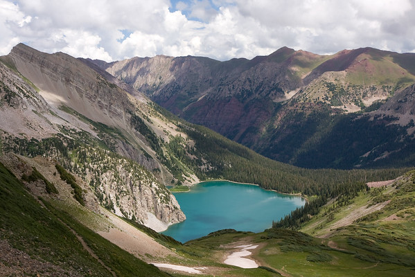 The amazing view atop Trail Rider Pass. Snowmass Lake is below, and reminded me more of the Canadian Rockies with it's turquoise blue colors. After a long descent towards the lake, we found an excellent campsite on the far shore of Snowmass Lake to call home for the night.