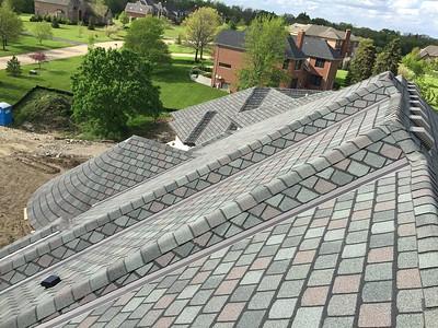 CertainTeed Highland Slate Designer Asphalt Shingles. (Color: New England Slate). Installation of Aluminum gutters.