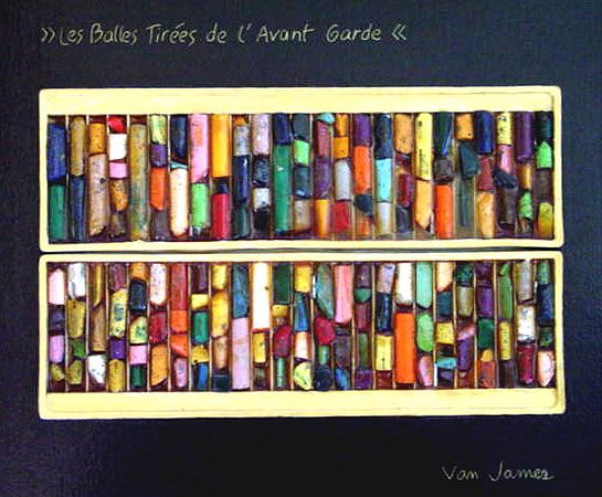 Les Balles Tirees de l'Avant Garde/Spent Ammunition of the Avant Garde (oil pastels, resin and plastic)