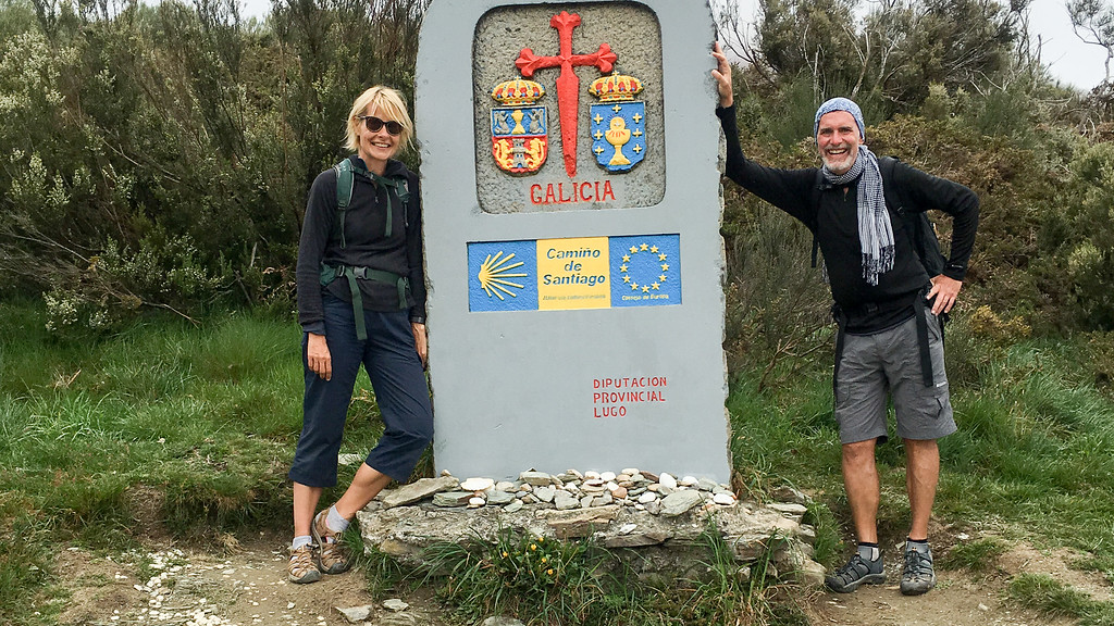 Jon and Sarah Crossing Into Galicia on the Last Leg of the Camino de Santiago