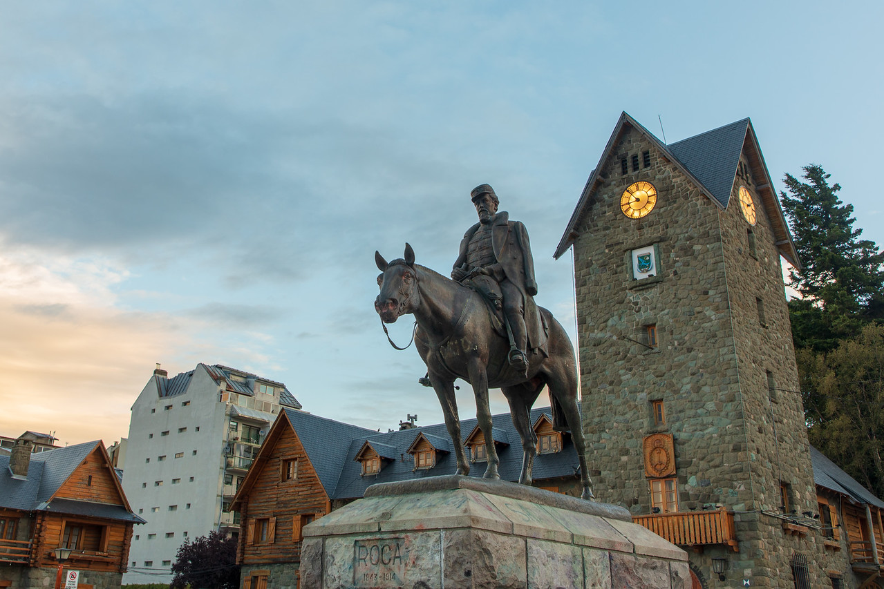 After Long Bus Ride Main Square in Bariloche