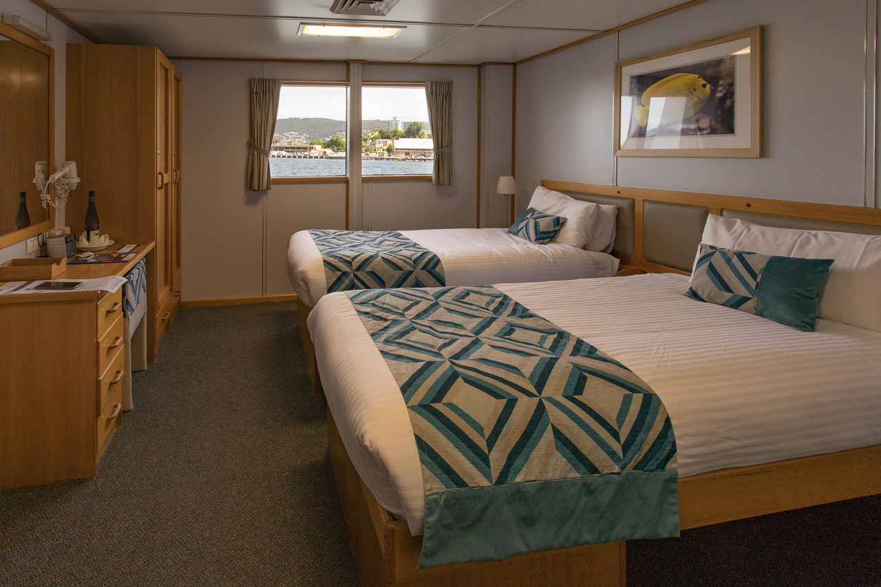 My Cabin On a small boat expedition cruise ship the Coral Expeditions I