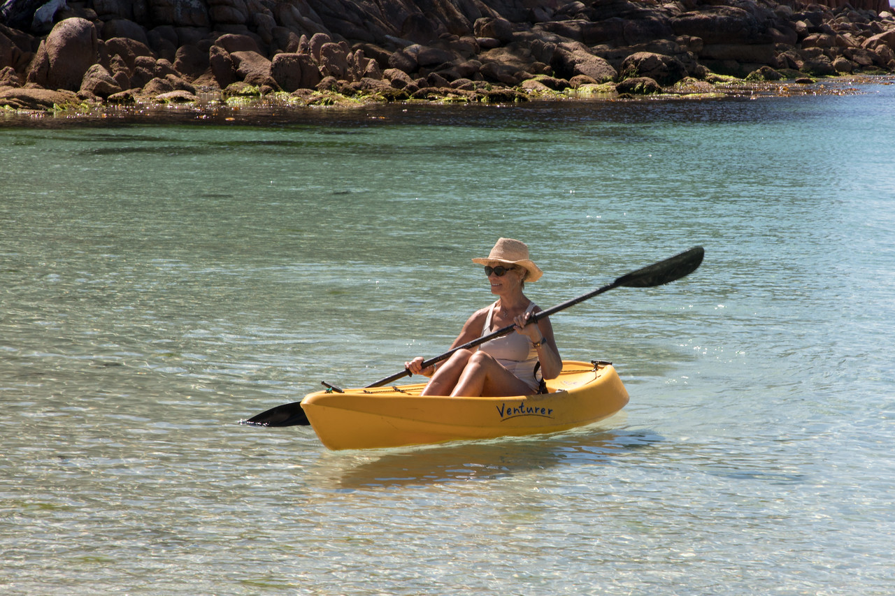 Kayaking in the Clear Waters of Wineglass Bay one of the places we visited with Coral Expeditions