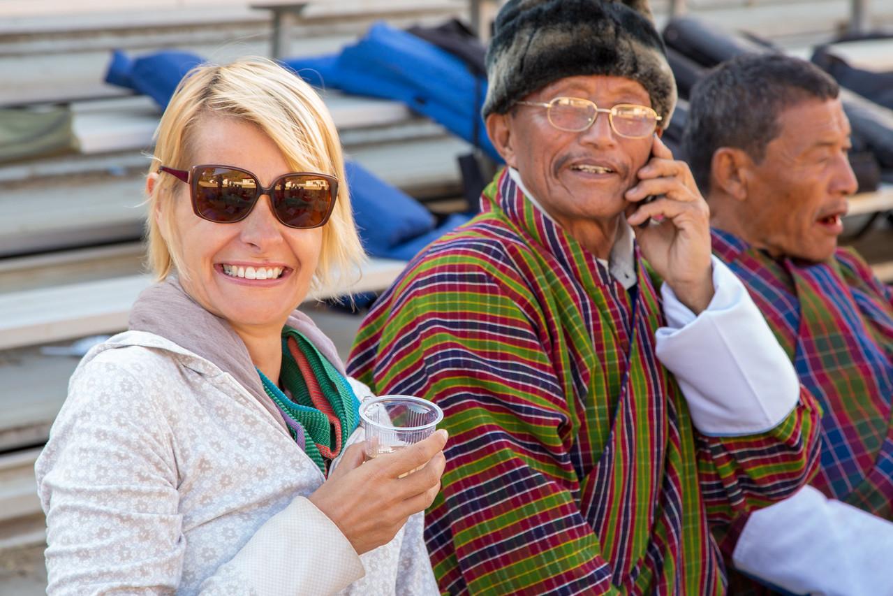 Sarah Gets Into the Spirit of Bhutan Archery