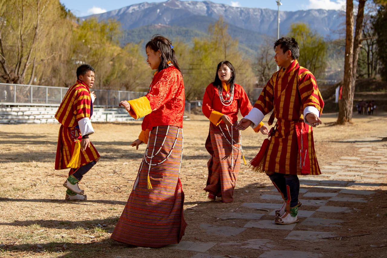 Bhutanese Dancers Taunt the Archers During Archery Competitions in Bhutan