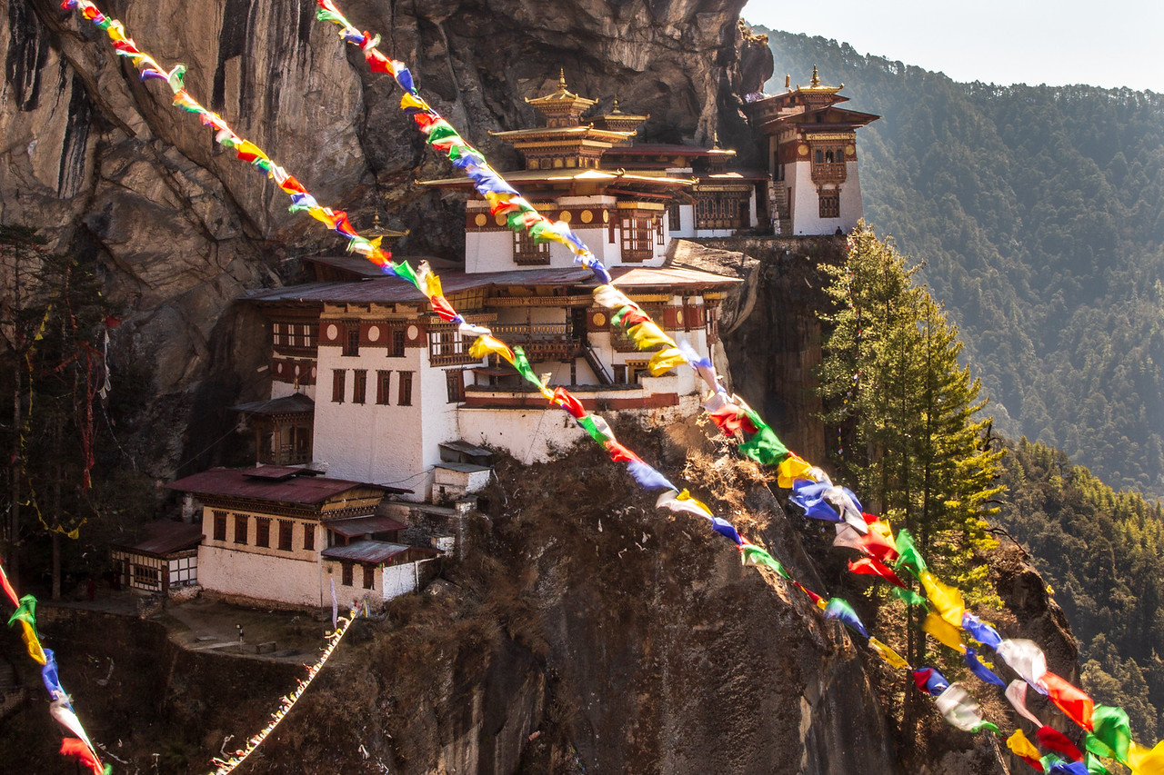 Bhutanese Prayer Flags Flutter Outside of Tiger's Nest Monastery