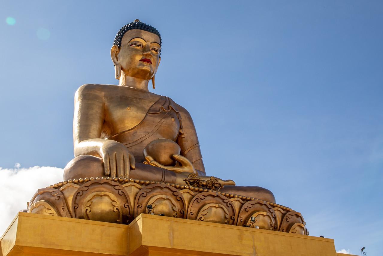 Buddha Dordenma Statue Sits on a Mountaintop Overlooking Thimpu, Bhutan