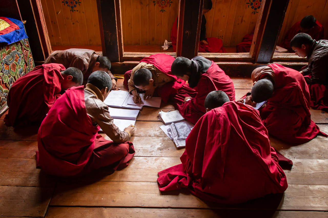 Young Monks study in Jakar Dzong in the Bumthang DIstrict of Bhutan