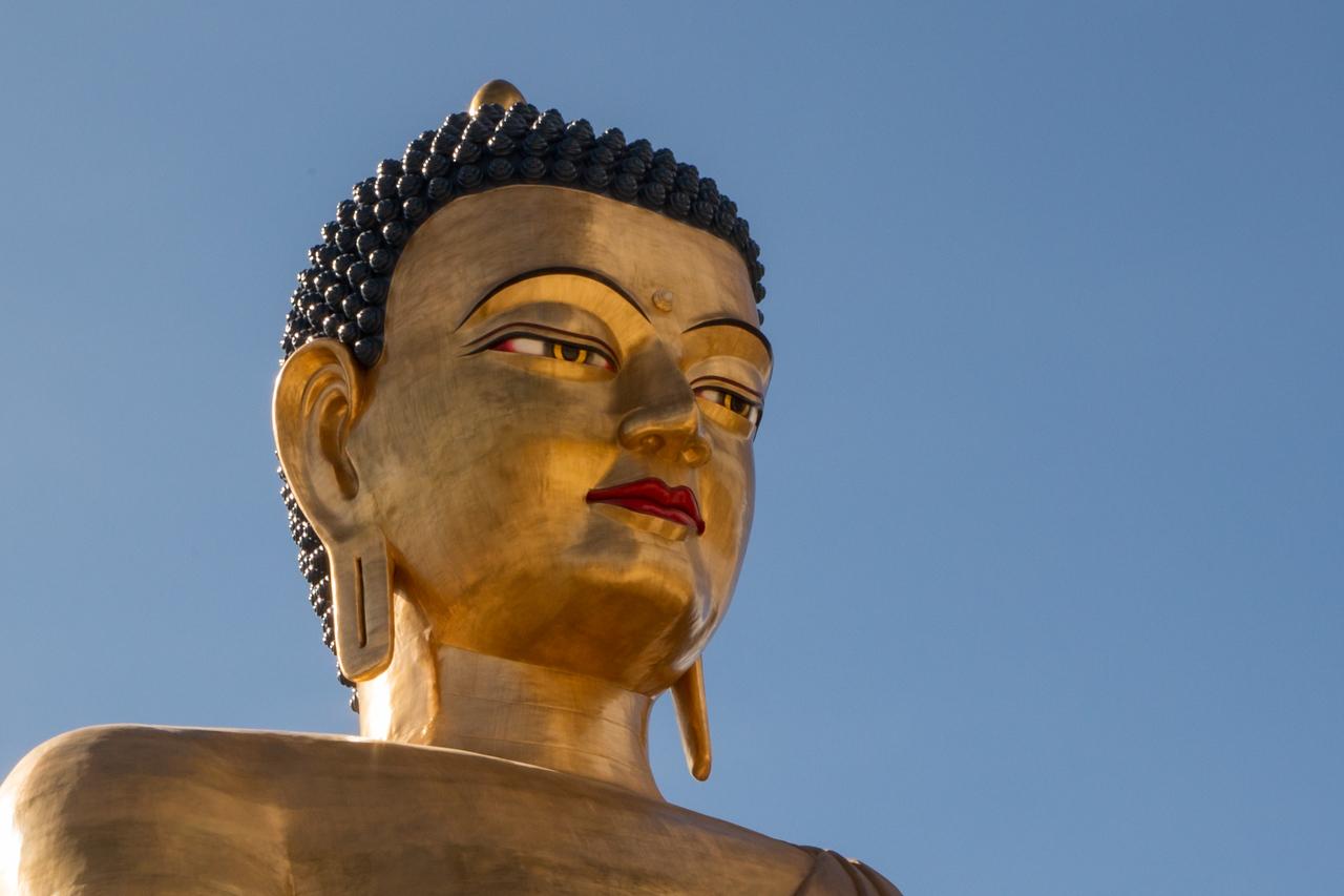 Closeup of Buddha Dordenma Statue in Thimpu, Bhutan