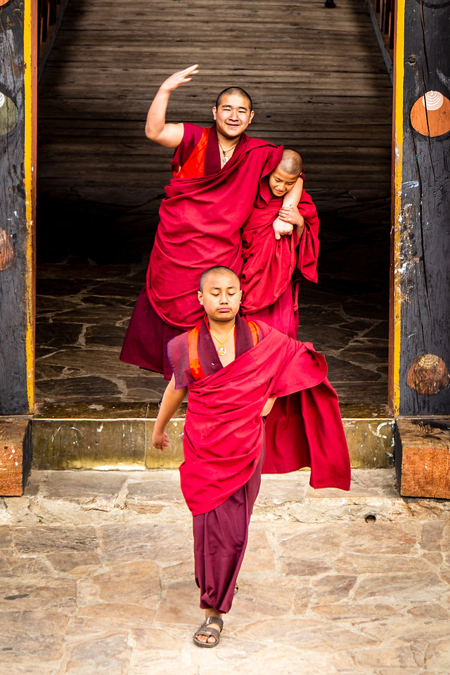 Monks in Tashichho Dzong Near Thimpu, Bhutan