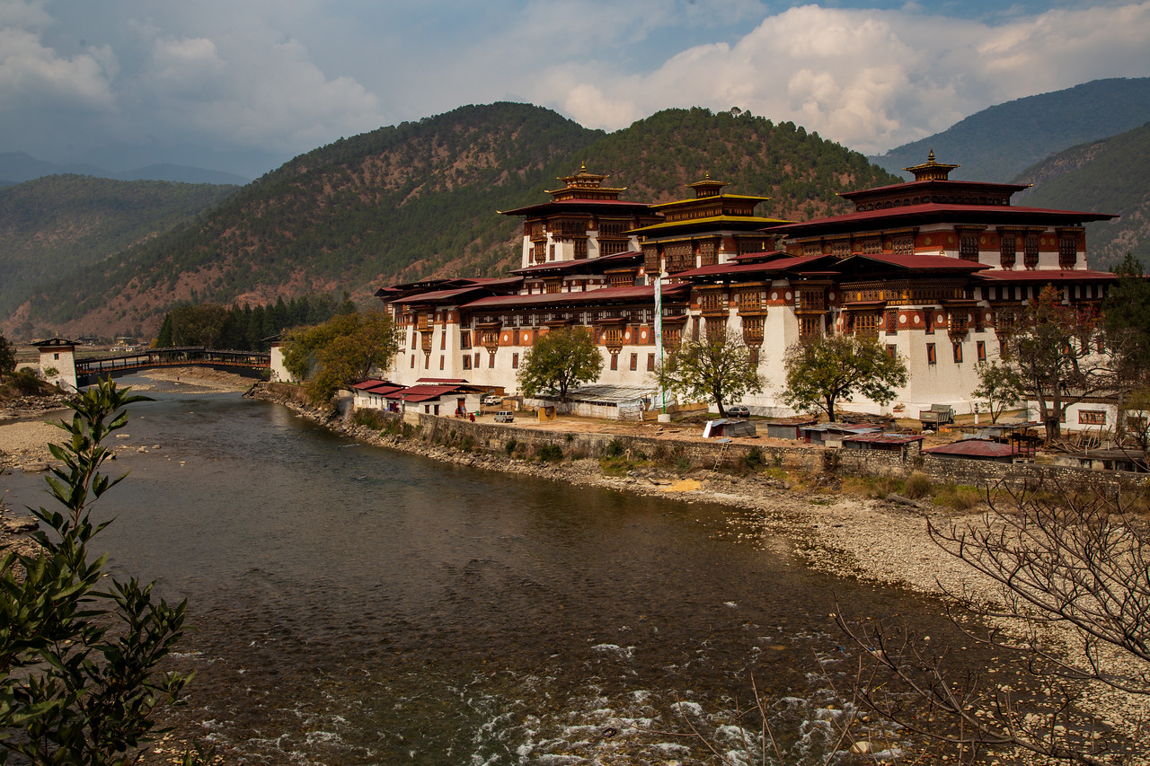 Exterior View of Tashichho Dzong Near Thimpu, Bhutan