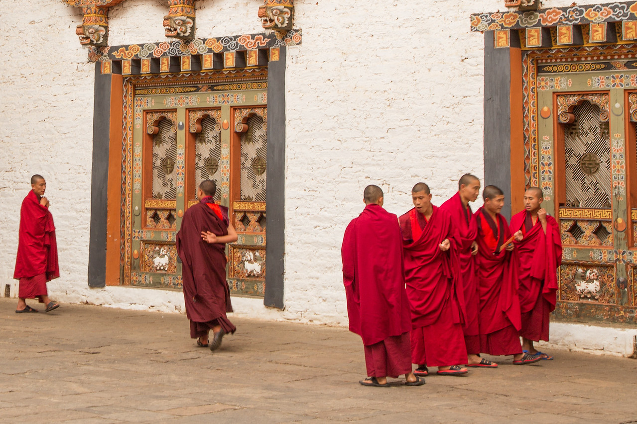 Monks Between Classes in Tashichho Dzong Near Thimpu, Bhutan