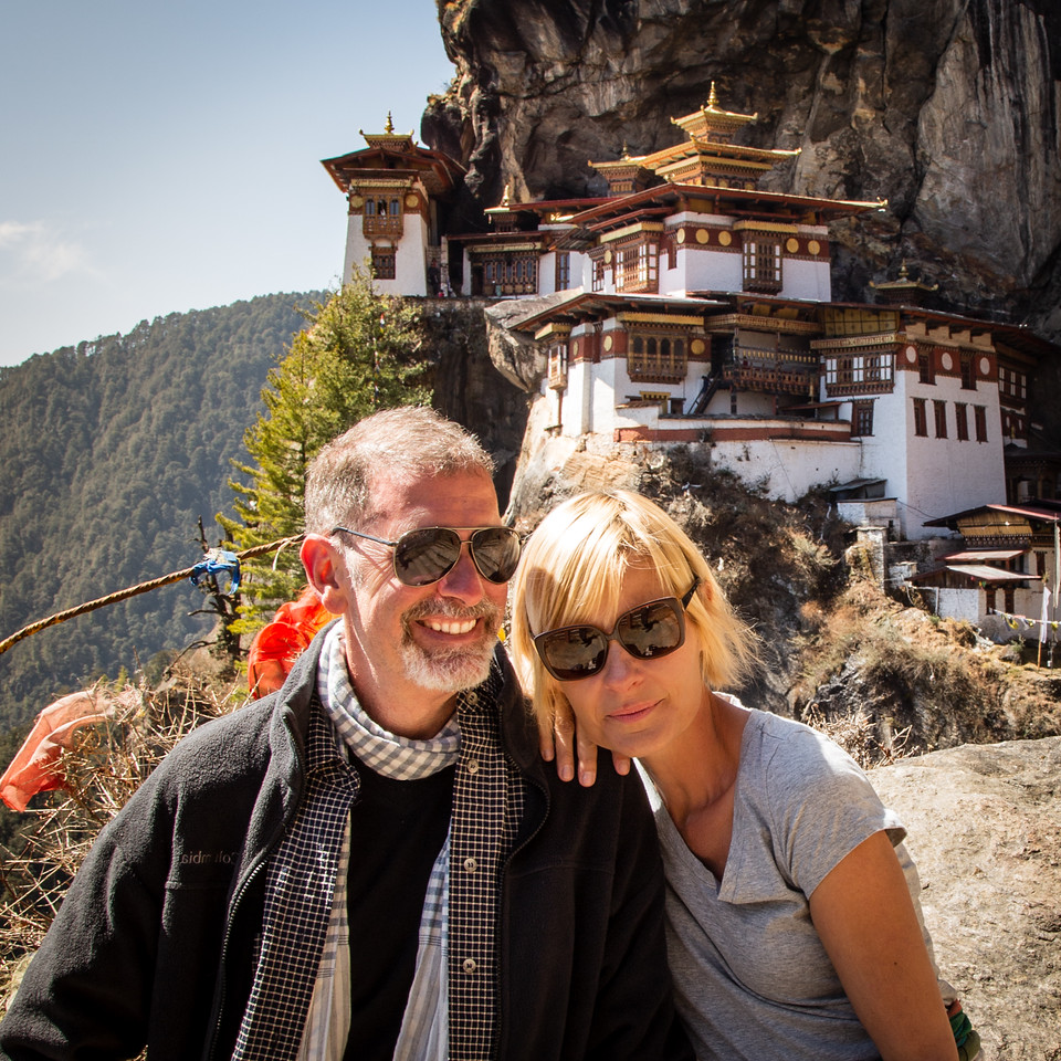 Jonathan and Sarah at the Top of Tiger's Nest in Bhutan