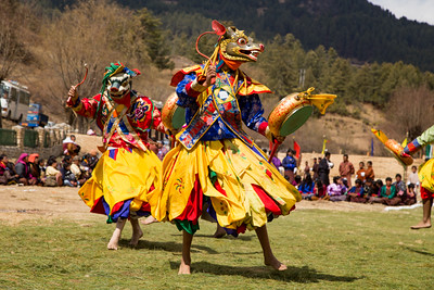 Traditional Masked Cham Dancers in Bhutan