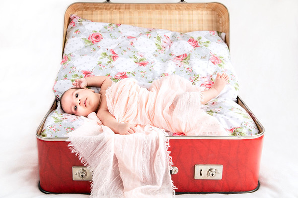 new born baby girl wrapped in a pink blanket in an open suitcase