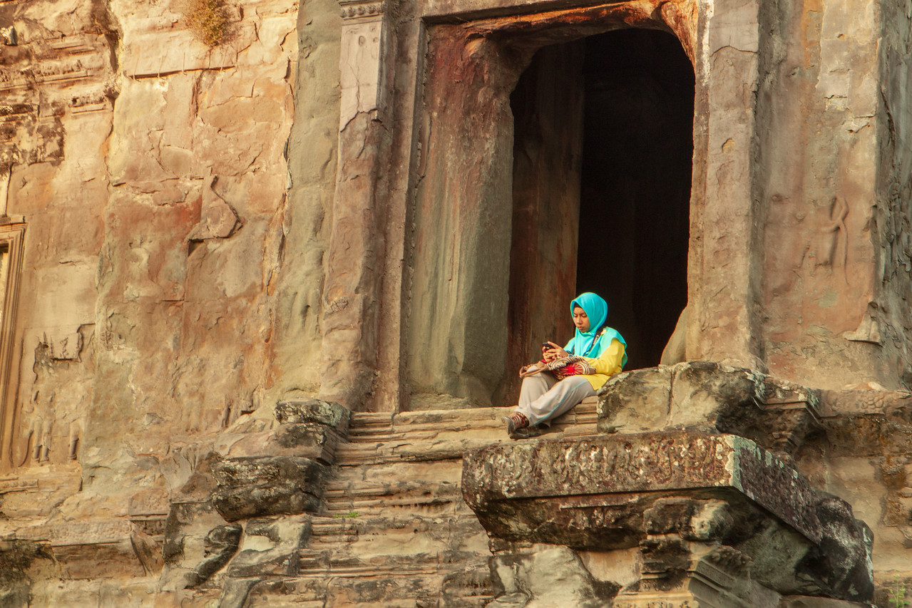 Smartphone Usage at Angkor Wat