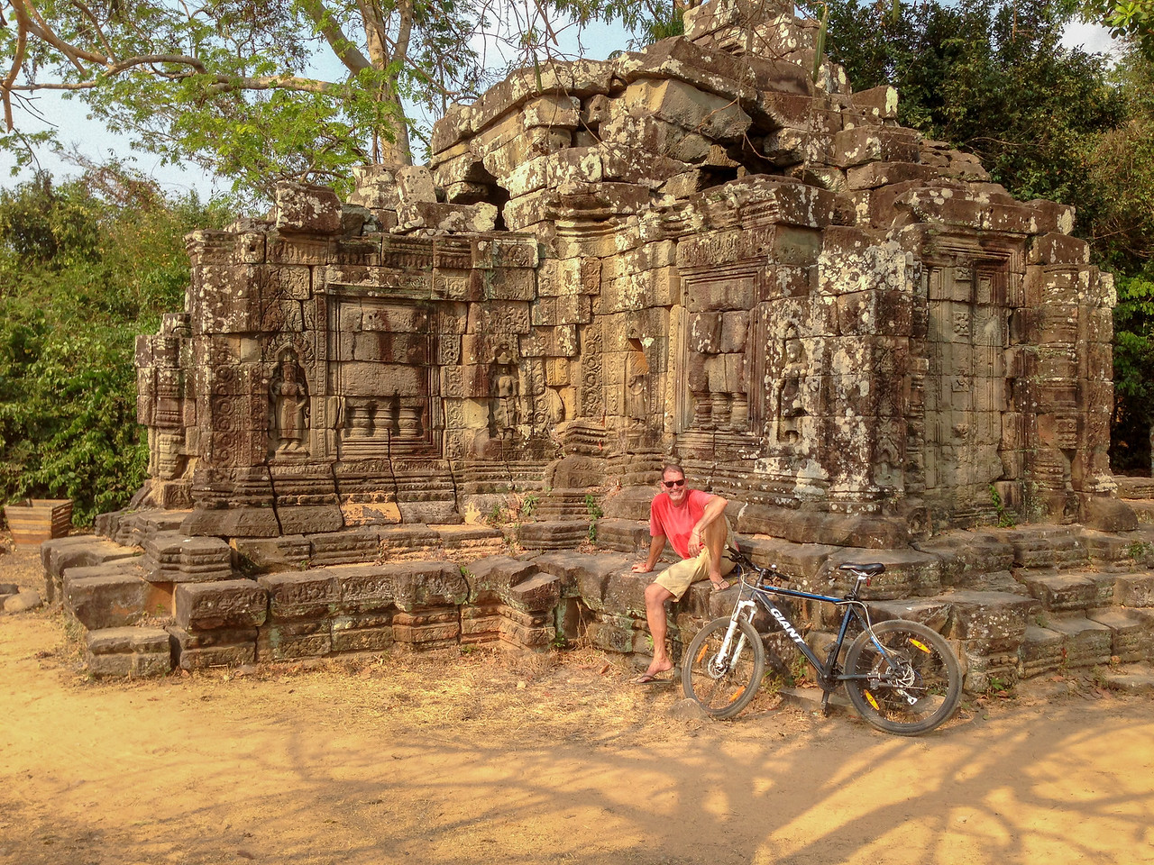 Taking a Break at Prasat Chrung While Cycling Angkor Wat