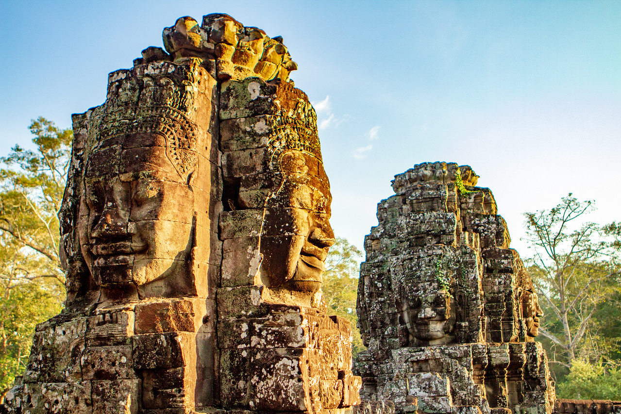 The Bayon Temple is inside of Angkor Thom. Be sure to Visit When you Cycle Angkor Wat