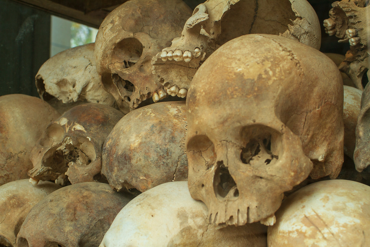 Over 5,000 Skulls in the Stupa Stand as a Reminder of the Atrocities at Choeung Ek