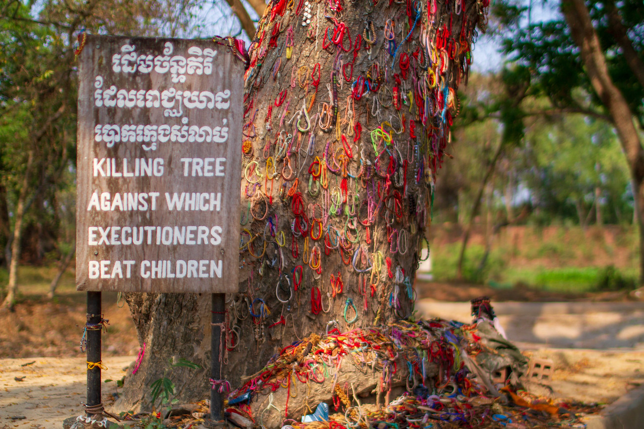 At Choeung Ek Killing Fields in Cambodia Babies Were Forcibly Taken from Their Mothers and Bashed to Death Against This Tree