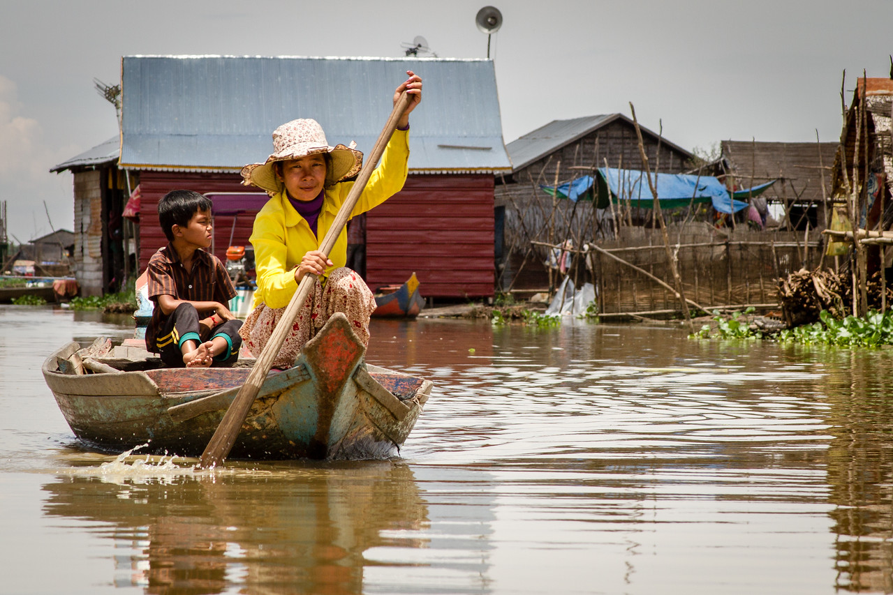 Transport by Boat at Floating Village in Cambodia