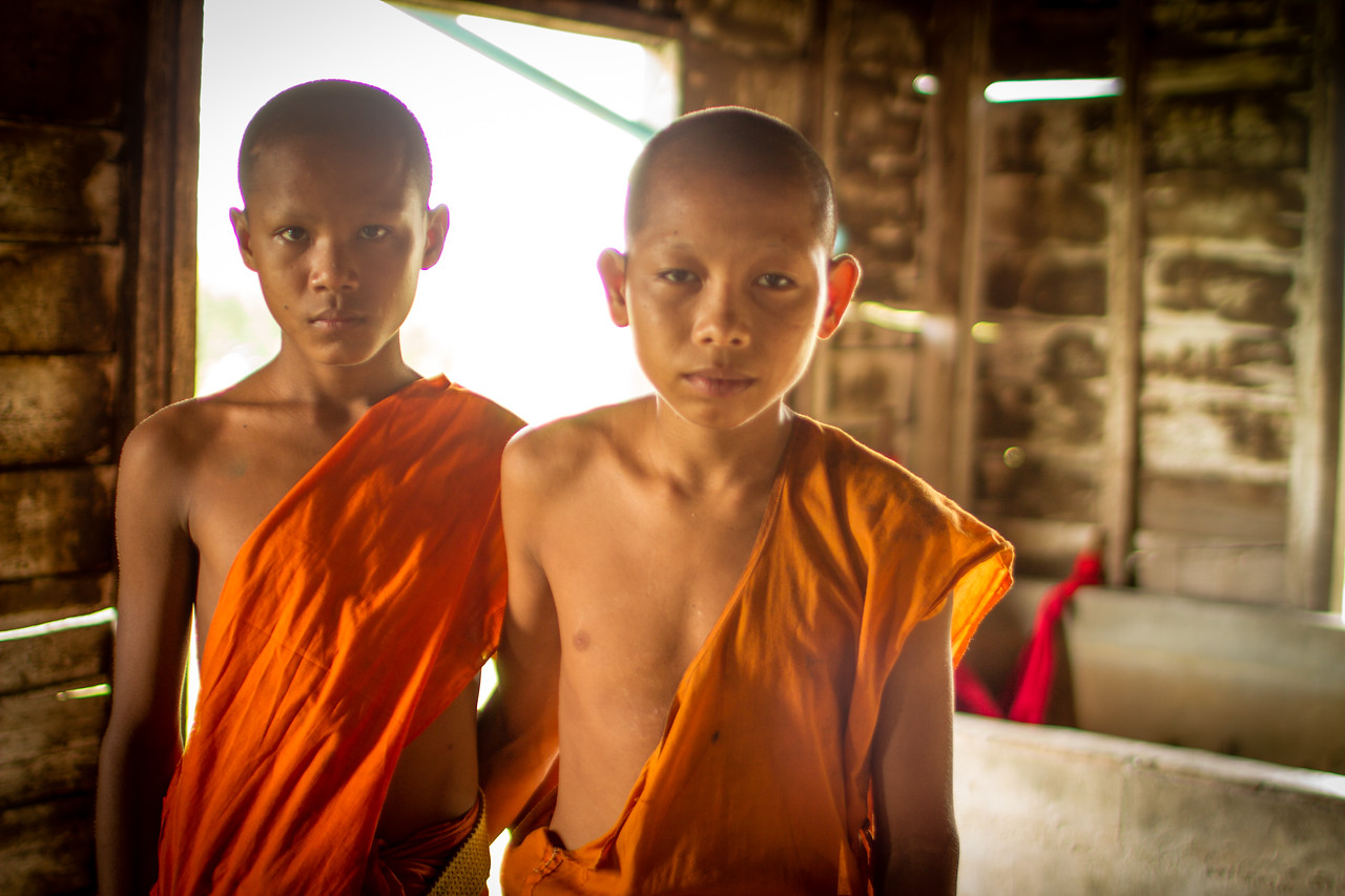 Young Monks at the Pagoda at Mechrey Floating Village