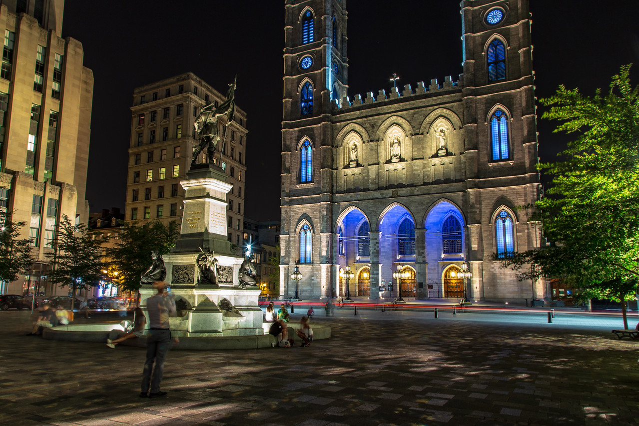 Night time image of Notre Dame Basilica de Montréal in the historic district of Old Montreal, Canada