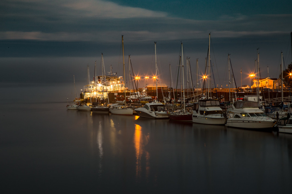 Nighttime in the Harbor of Tadoussac, Quebec, Canada