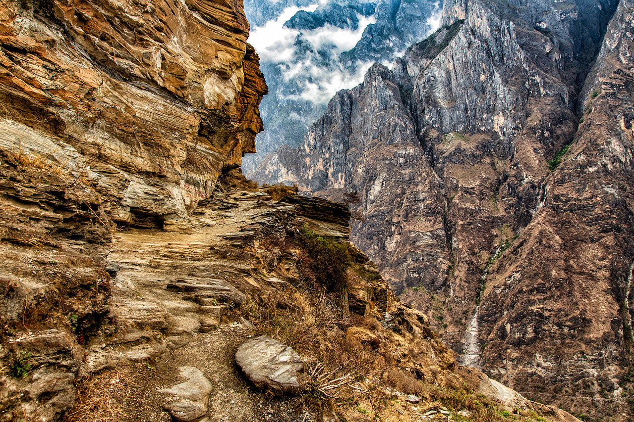Narrow Path Encountered While Hiking Tiger Leaping Gorge