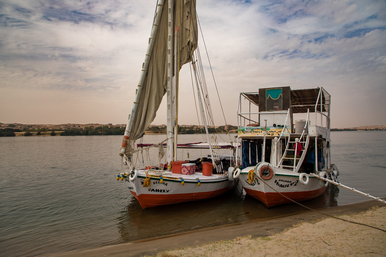 Felucca the Nile Along with our Support Boat