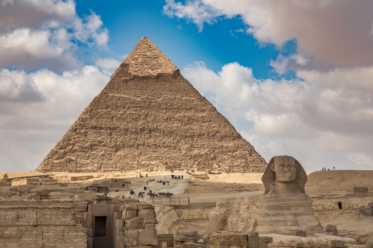 Photo of the Great Sphinx of Giza Guarding the Pyramids