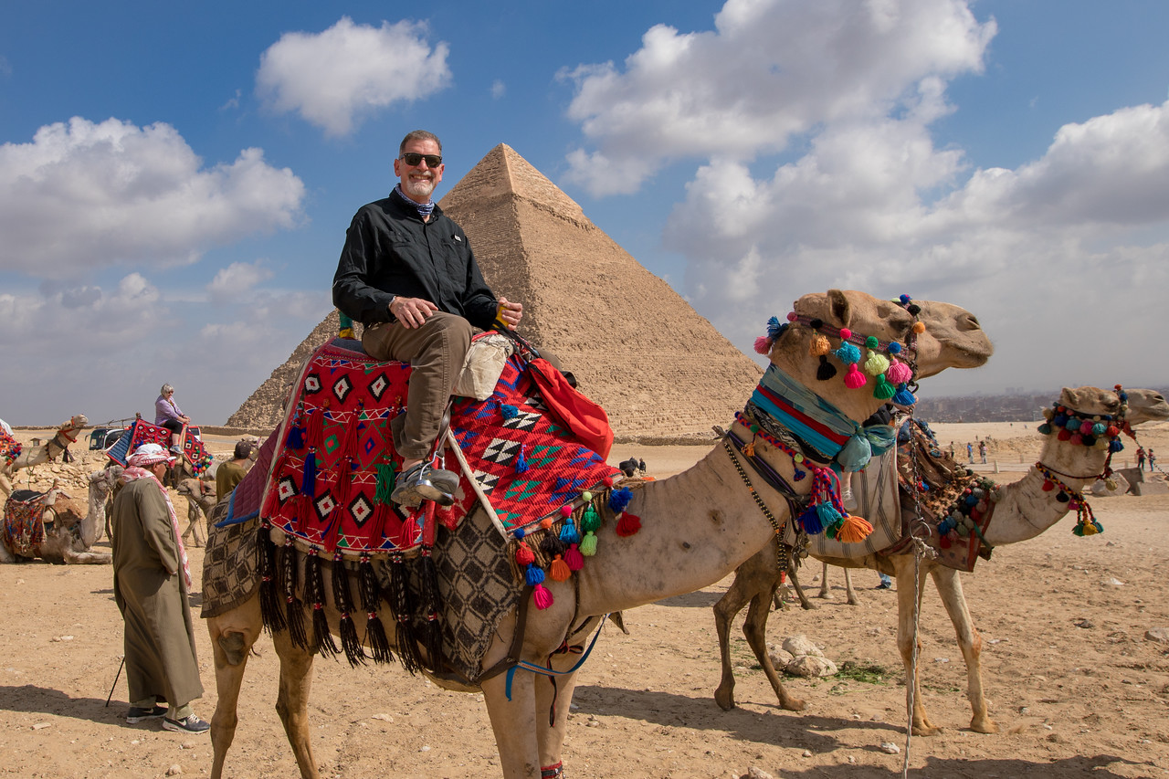 Me Riding a Camel at The Great Pyramids of Giza in Egypt