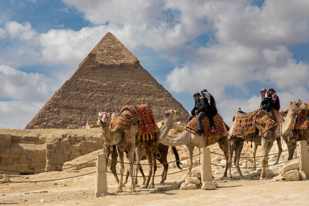 Picture of Tourists Riding Camels Near The Great Pyramids of Giza