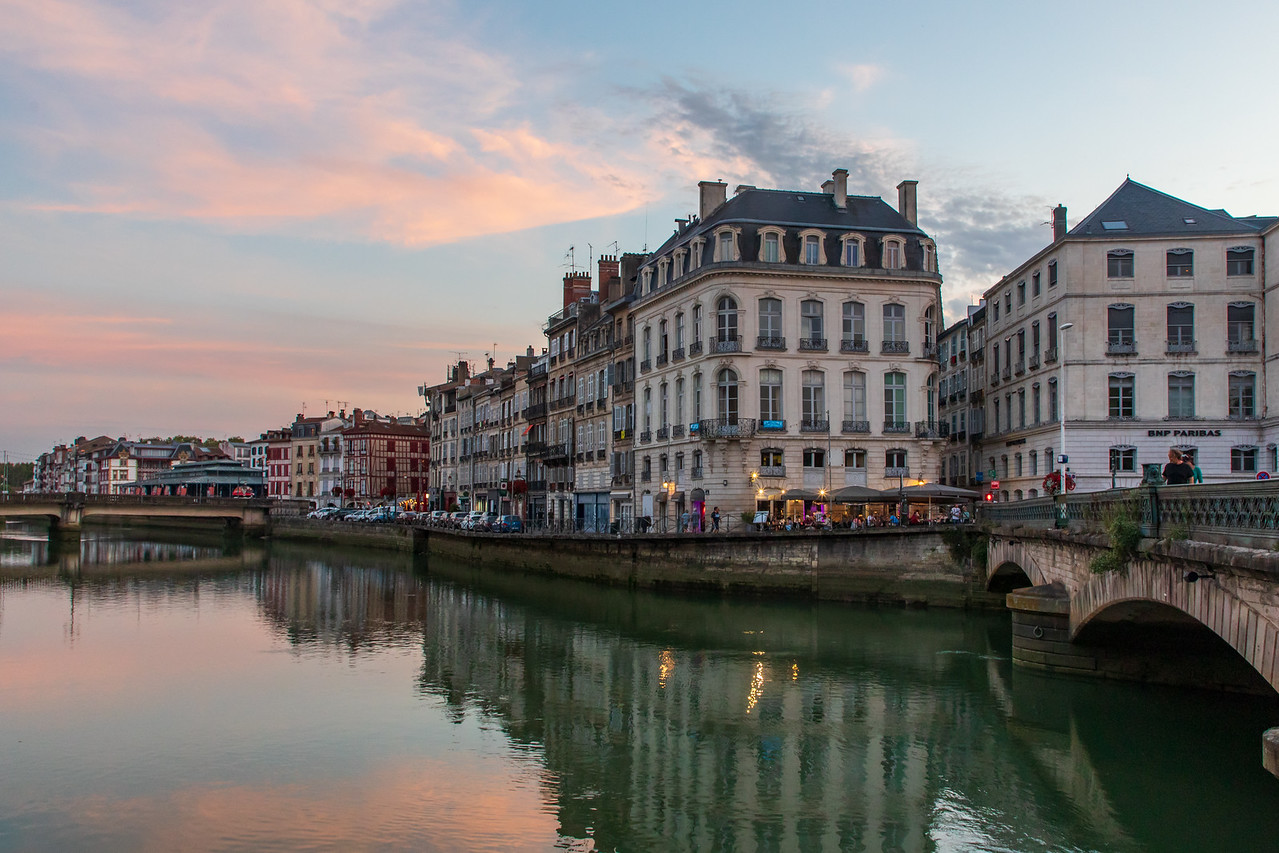 IMage of Bayonne at Sunset on the River Nive