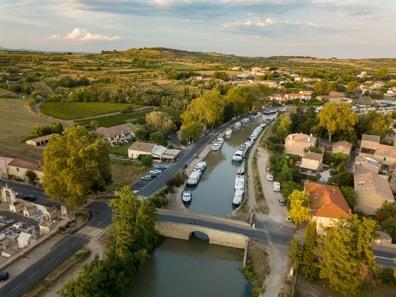 Drone View of Barges on the Canal du Midi in Campestang, France