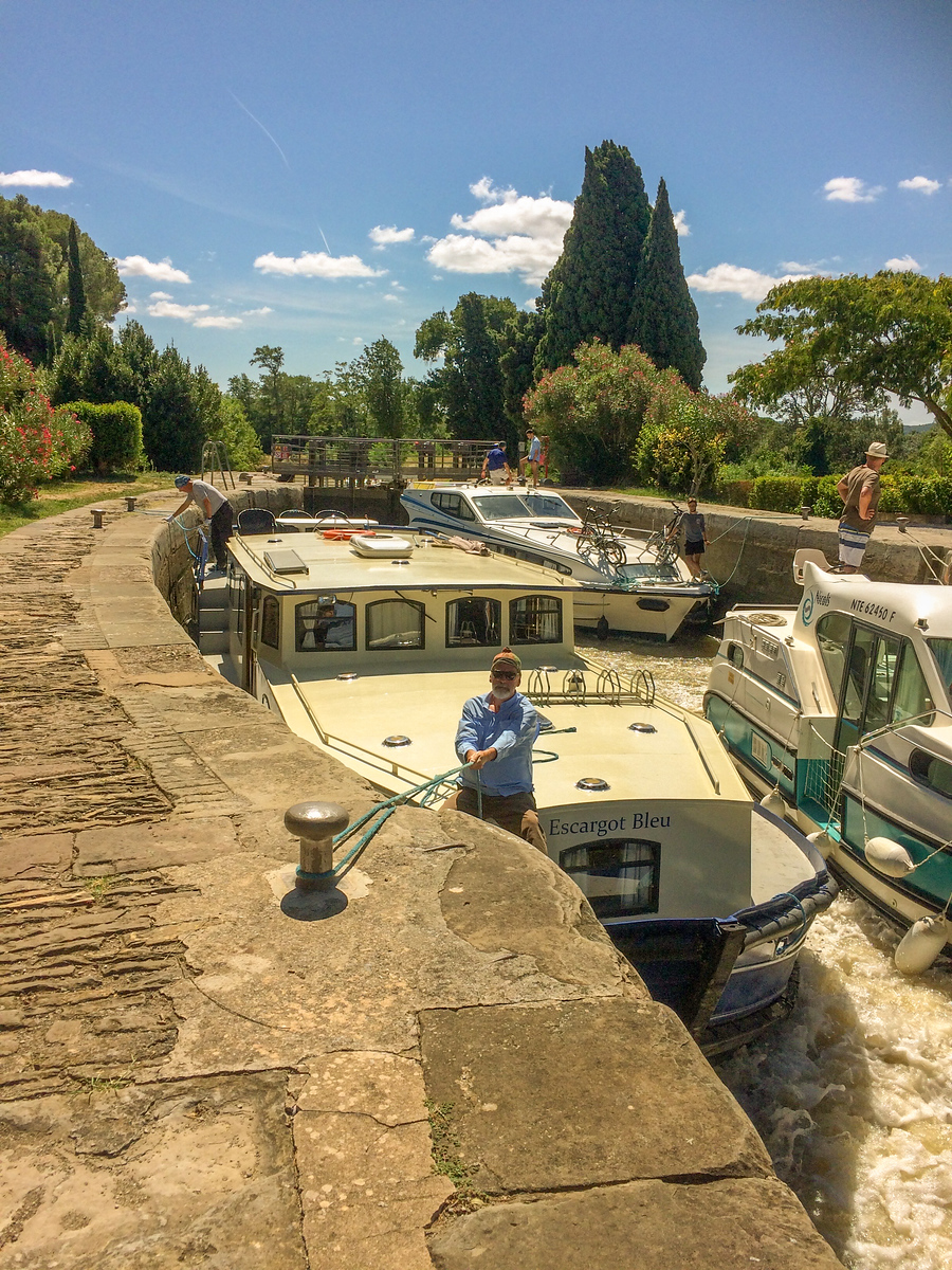 Taking the Barge Our First Lock on the Canal du Midi at Argens-Minervois