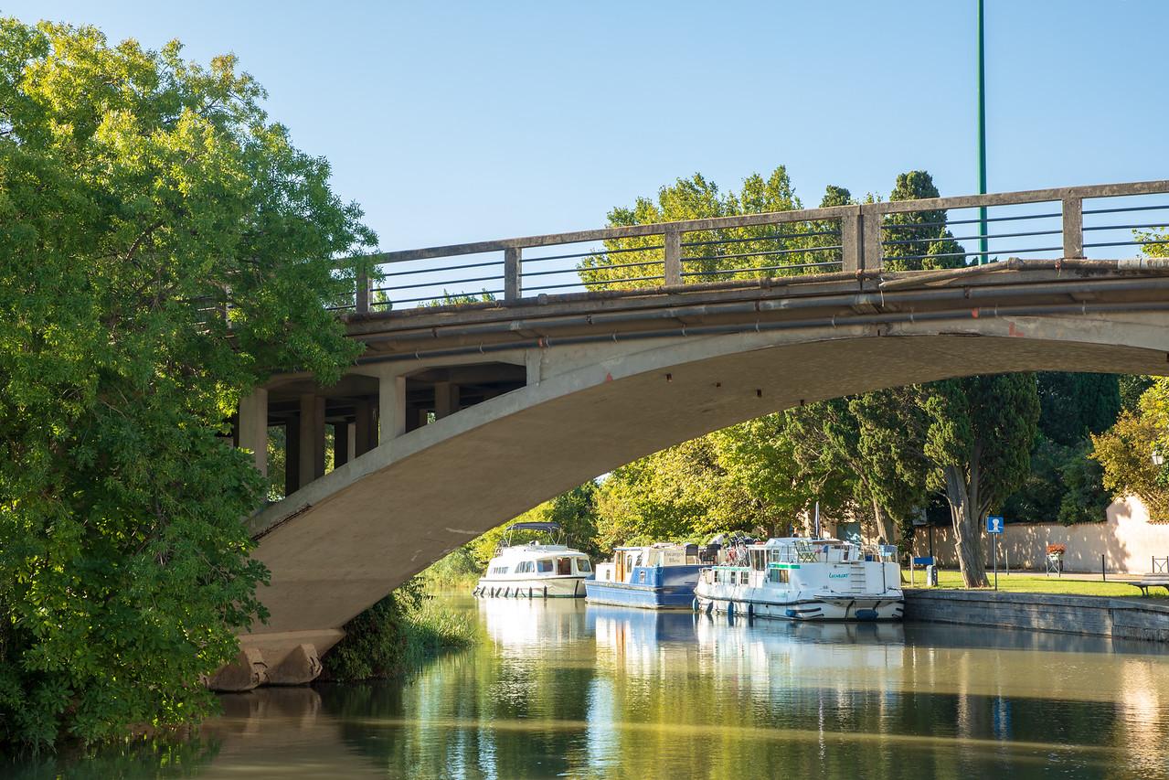 Moored Under the Canal du Midi Bridge in La Redorte, France