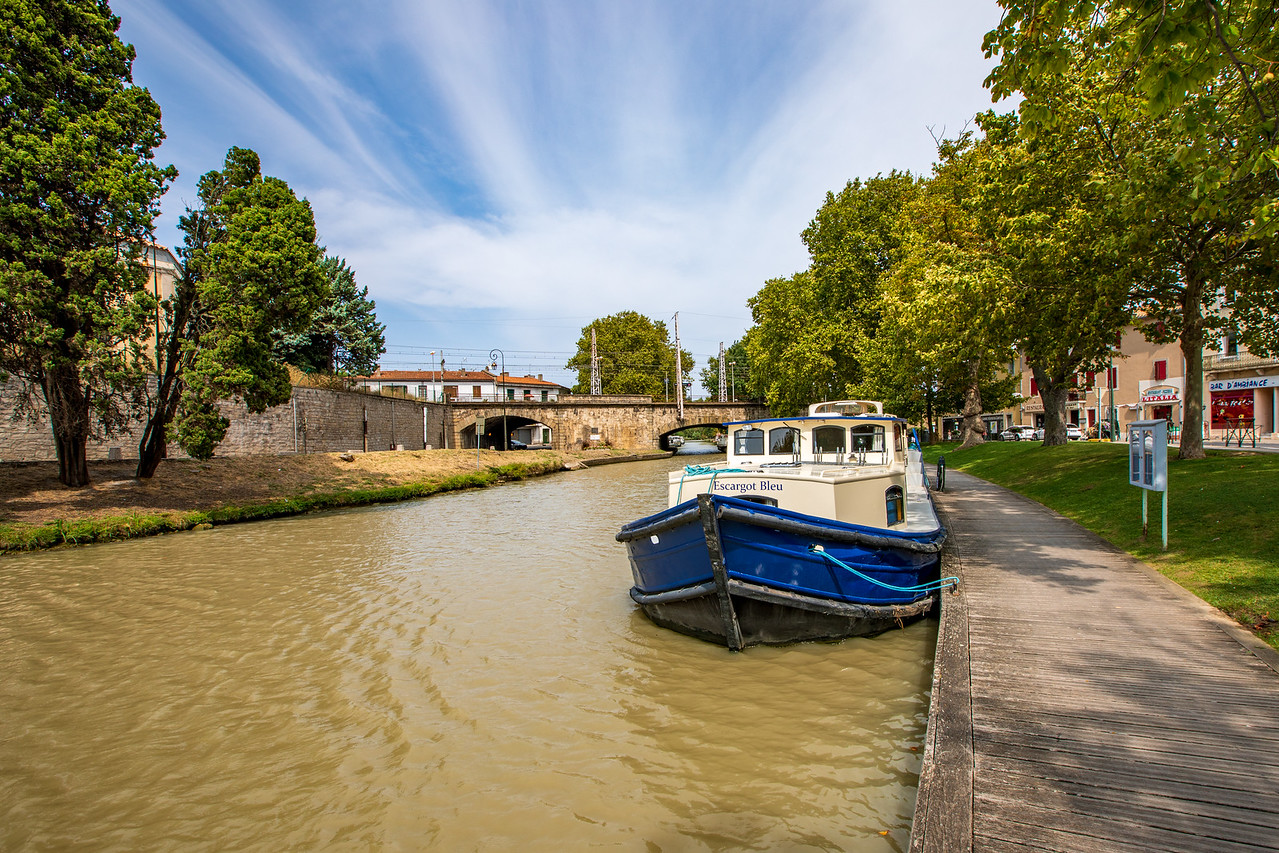 Mooring Spot for Our Boat in Carcassonne on the Canal du Midi Cruise