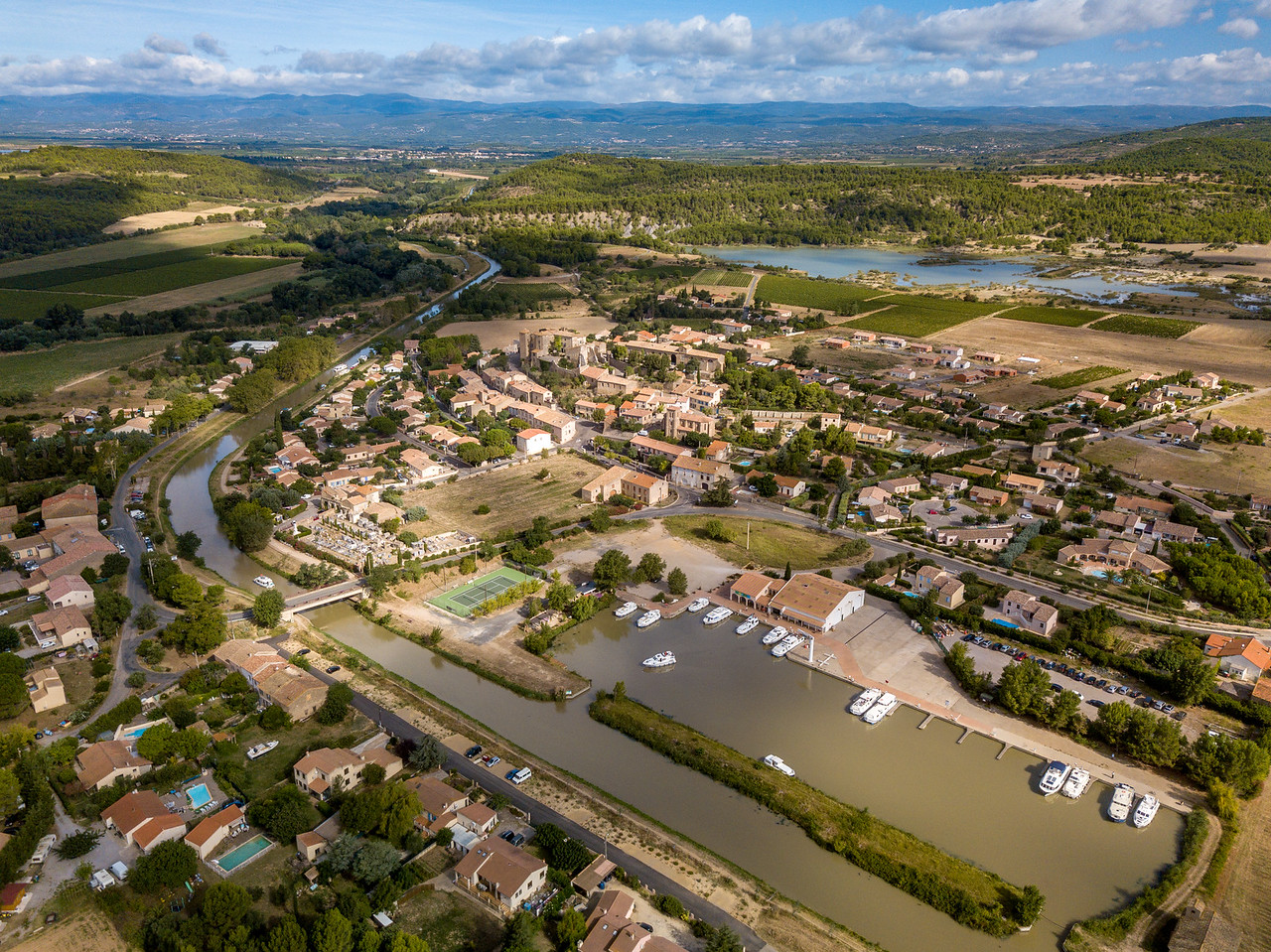 Drone View of Our Parking Spot in Argens-Minervois on the Canal du Midi