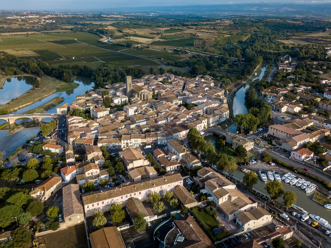 Aerial Drone View of Boats on the the Canal du Midi at Trebes, France