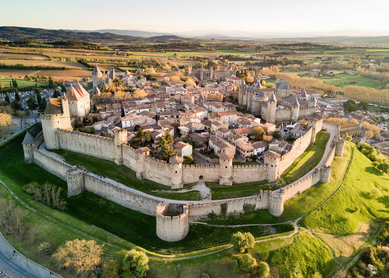 Aerial Drone View of Carcassonne, France