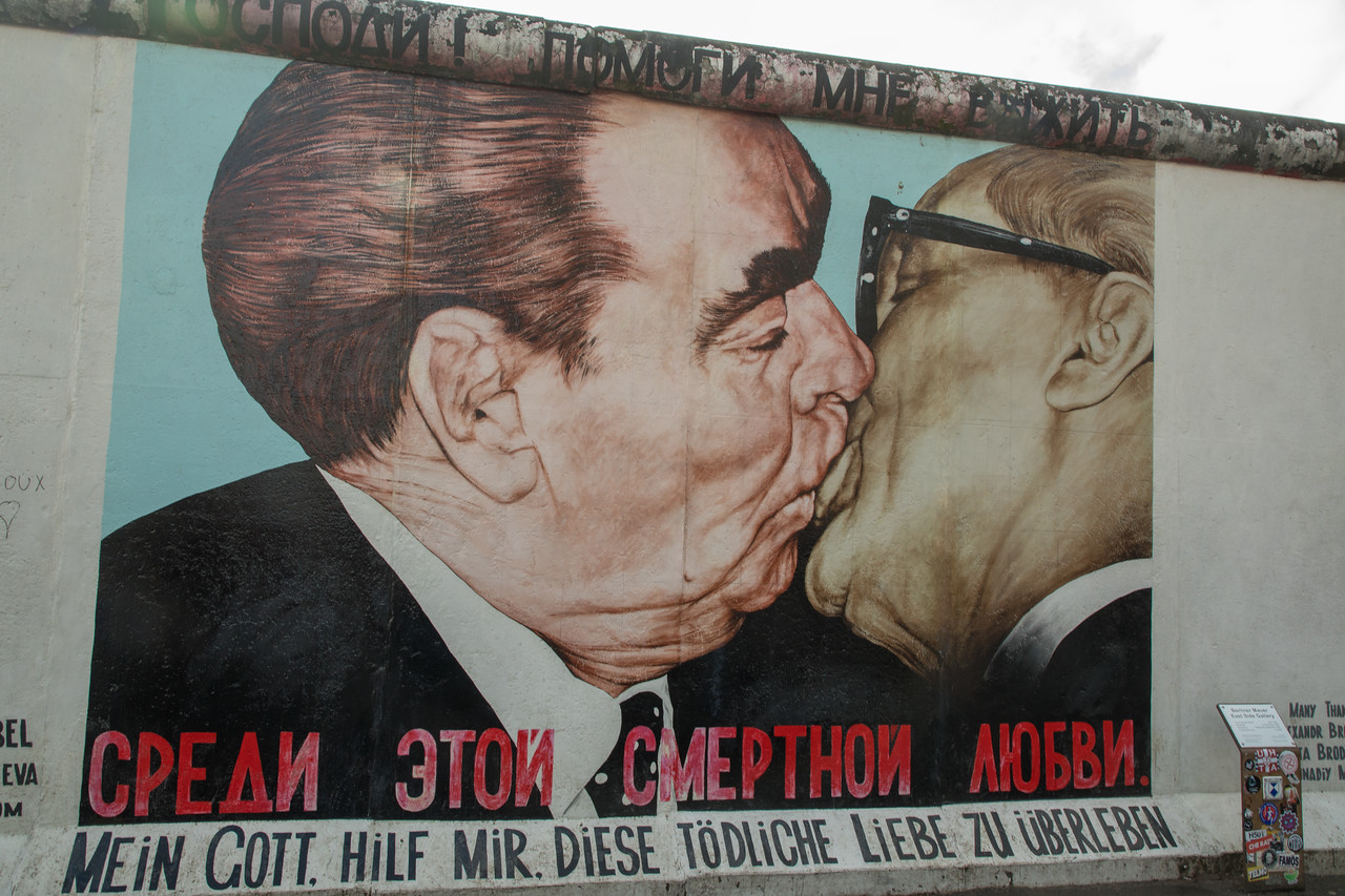 "Berlin Wall Graffiti Two Men Kissing Berlin Wall, Fraternal Kiss aka ""My God, Help Me to Survive This Deadly Love"" by Dmitri Vrubel"