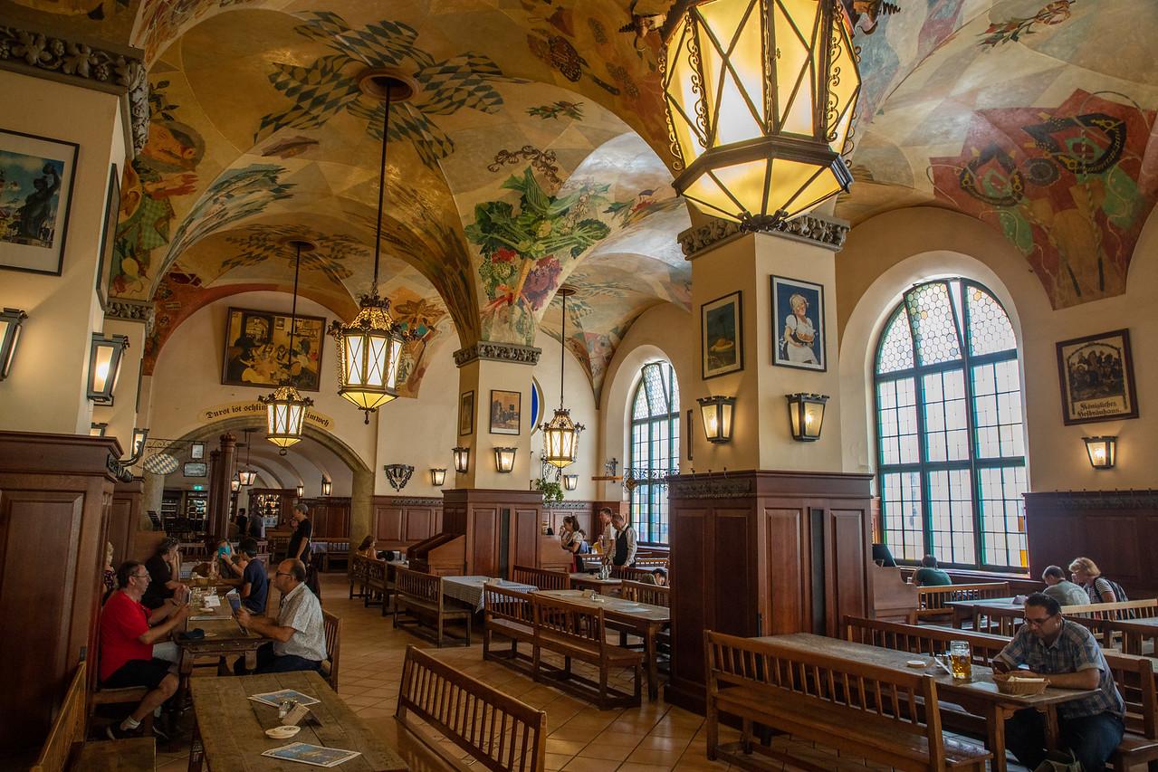 Inside the Hofbrauhaus in Munich