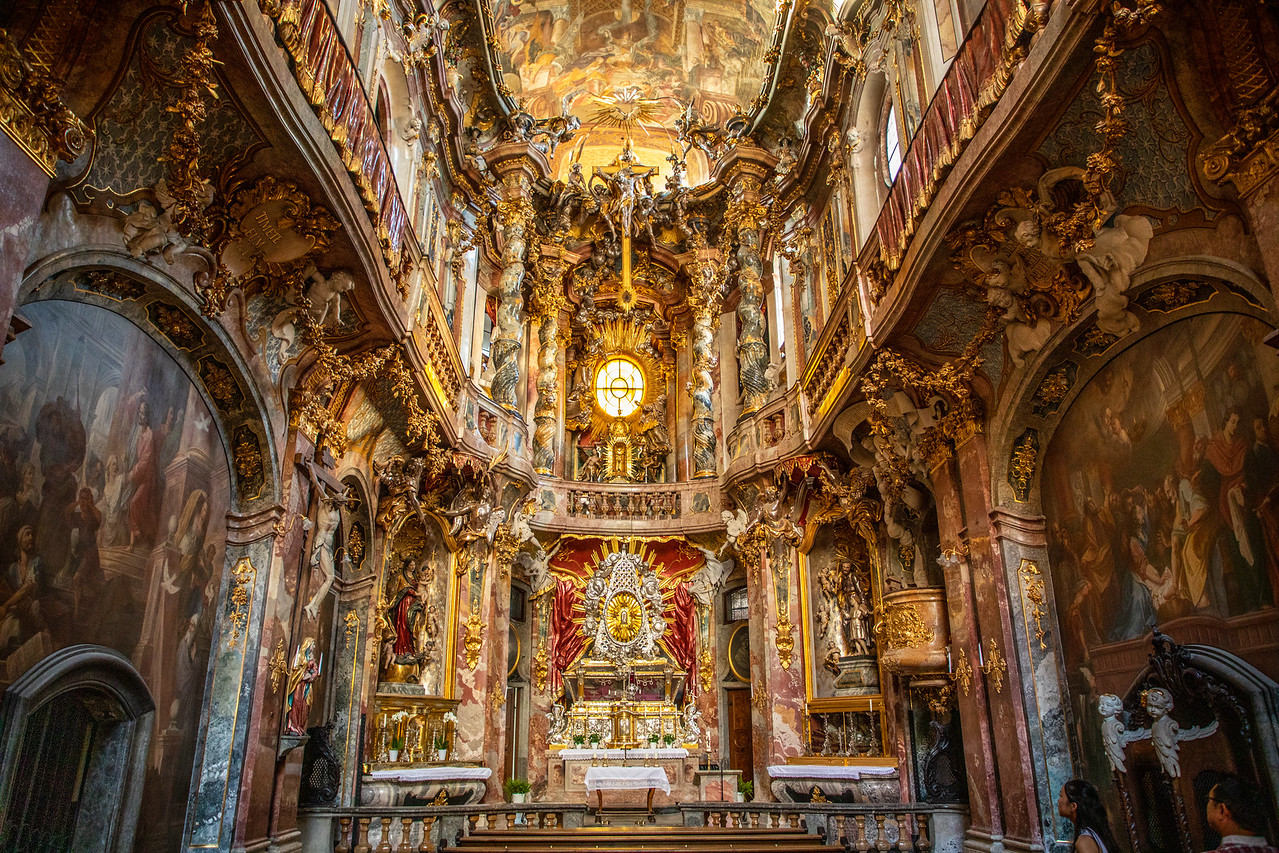 Interior of Asam Church is Great to See on A Rainy Day in Europe