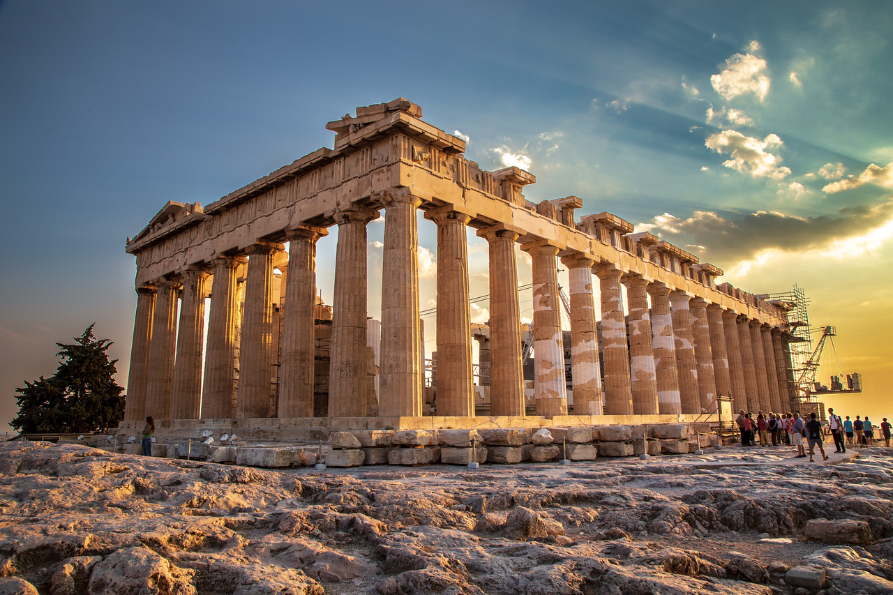 Sunset at the Parthenon in Athene, Greece