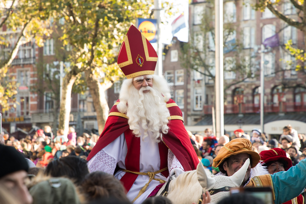 Sinterklaas on His White Horse Amerigo