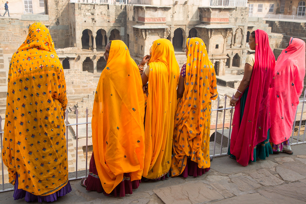 Picture of Women in Their Colorful Dress at the Abhaneri Stepwells in India