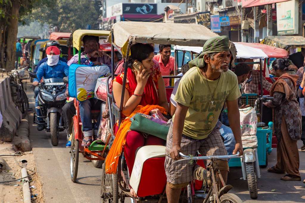 Pedicabs are practical in Delhi, India and still in wide use