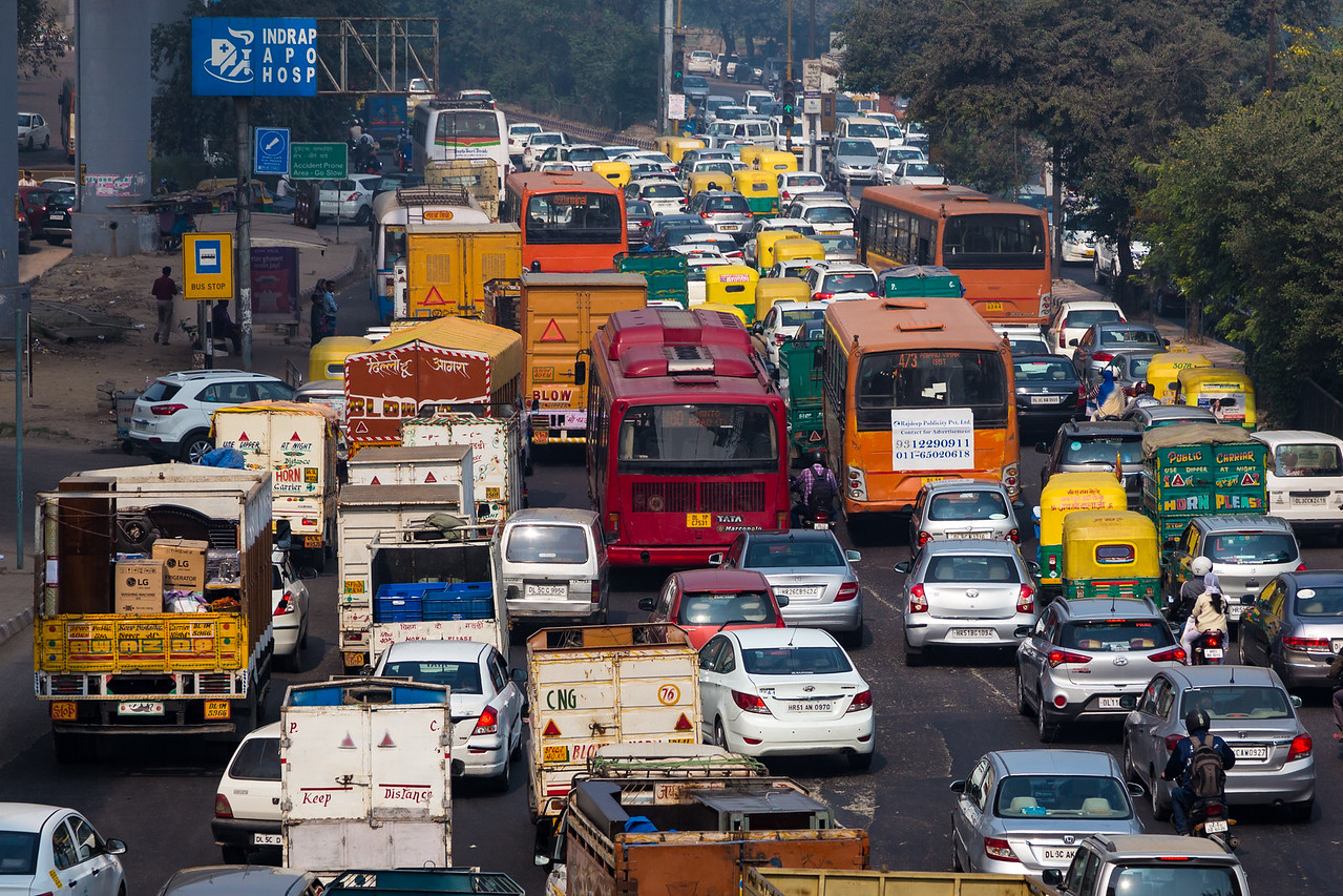 Image of traffic congestion in Delhi