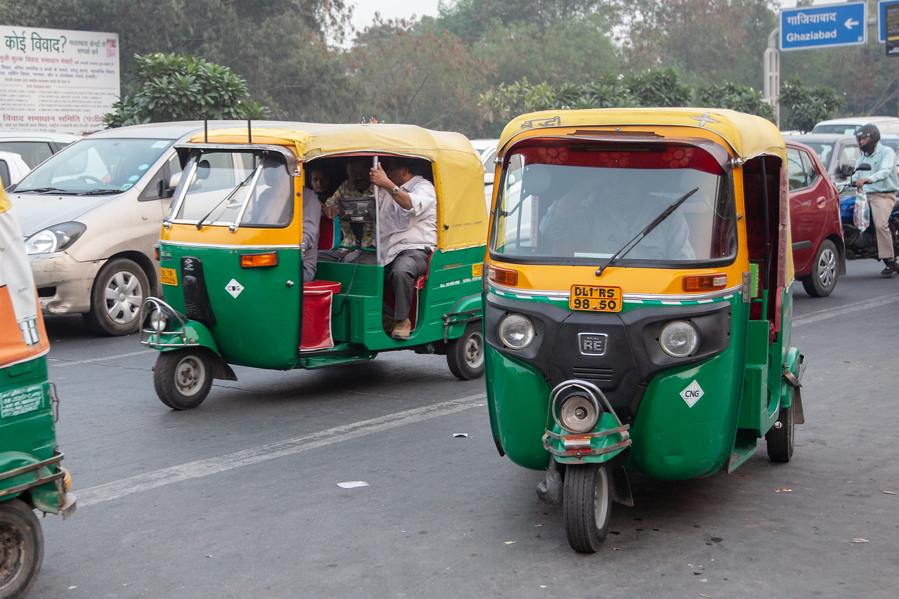 Transport like this auto rickshaw can greatly reduce the cost of living in Delhi